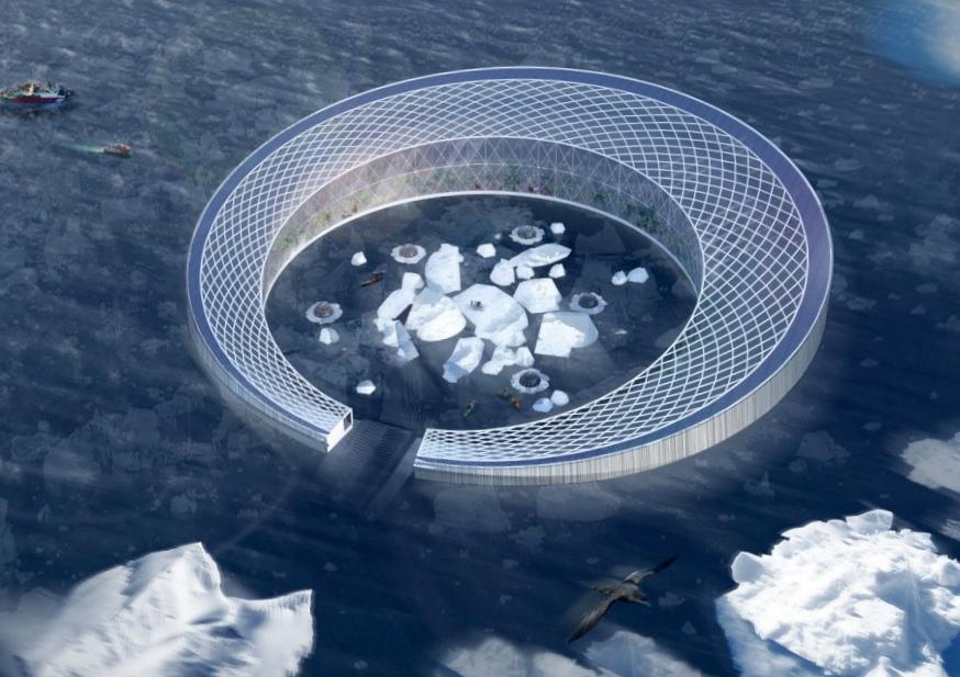 Дрейфующий город-ферма собирает айсберги для гидропонного хозяйства