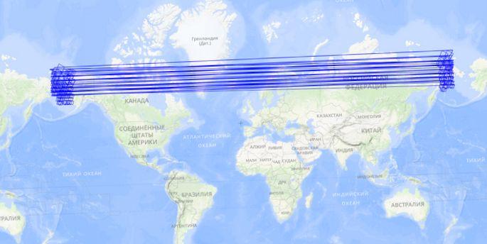 """Космоснимки: пересечение 180-ого меридиана или """"широка страна моя родная"""""""