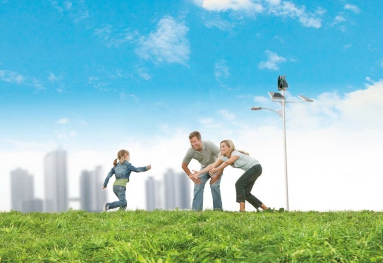 Уличное освещение с помощью одновременно солнечной и ветровой энергии